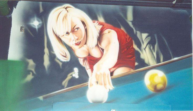 Shooting Balls. Airbrushed mural.