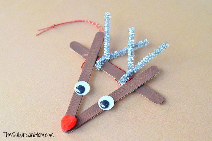 Popsicle Stick Ornament Rudolph