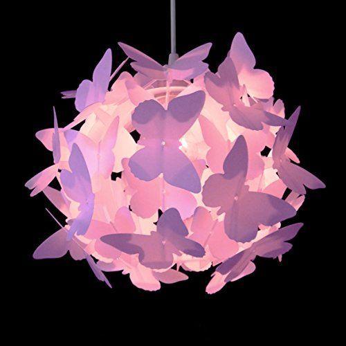 belle moderne et lumineux de couleur rose suspension lustre pendentif papillons sur boule abat