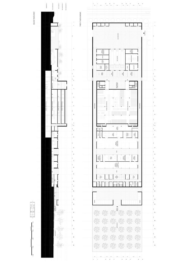 Alberto Campo Baeza and Raphaël Gabrion's Louvre Design Ties for First Place,Plan and longitudinal section. Image Courtesy of Alberto Campo Baeza