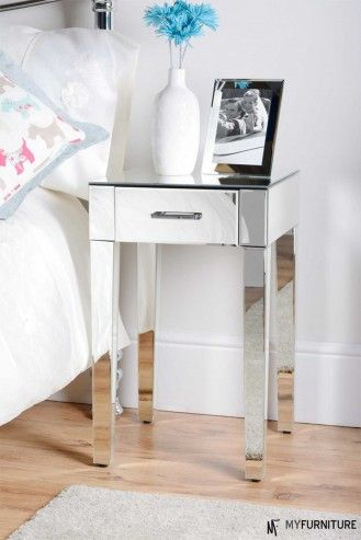Mirrored furniture single drawer Bedside Lamp Table cabinet ZOE