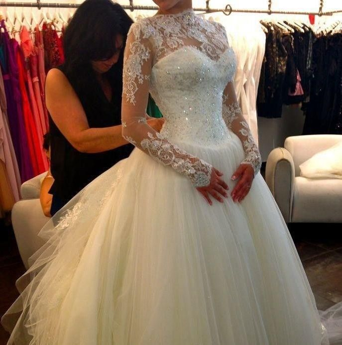 Cheap dress summer, Buy Quality gown picture directly from China dress bridal gown Suppliers:   Vestidos De Novia 2016 Long Sleeve Lace Wedding Dress Ball Gown Wedding Dresses 2016 Robe De Mariage Lebanon