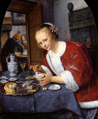 """Girl Eating Oyster"" -- 1658-60 -- Jan Steen -- Dutch -- Oil on panel -- Royal Picture Gallery Mauritshaus -- The Hague Castle Complex, Netherlands"
