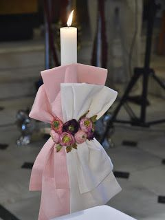 craft room - λαμπάδα βάπτισης λευκή ροζ με λουλουδάκια