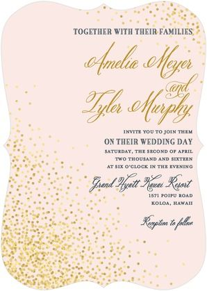 Every bride deserves to sparkle on their big day. This wedding invitation is perfect for a romantic evening wedding.  Effervescent Sparkle - Signature White Wedding Invitations - East Six Design - Chenille - Pink : Front