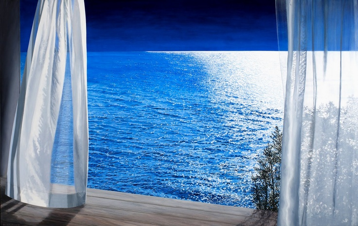 Curtains blowing inreland quot atlantic room quot nocturne art window