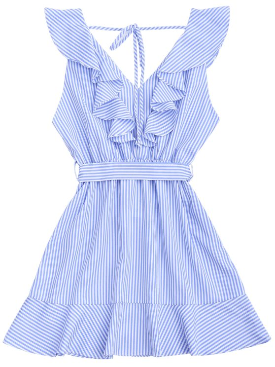 Ruffle Hem Striped Belted Dress - STRIPE M