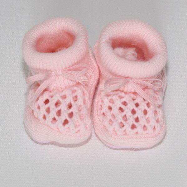 Chaussons roses au crochet Baby-suaan (coffret naissance fille)