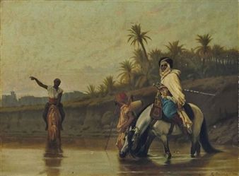 Boulanger, Gustave, (1824-1888), Arabs Watering their Horses, 1866
