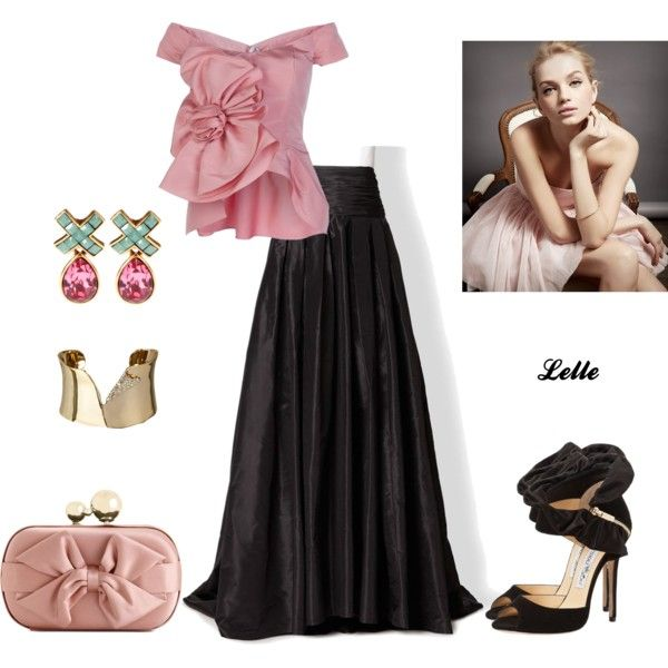 Carolina Herrera Silk Cummerbund Ball Gown Skirt and Oscar de la Renta top by lellelelle on Polyvore featuring Oscar de la Renta, Carolina Herrera, Franchi, Alexis Bittar and SUITEBLANCO