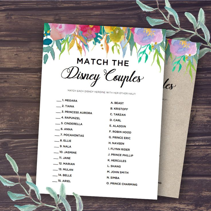 free printable famous couples bridal shower games%0A Bridal Shower Game  Match the Disney Couple  INSTANT DOWNLOAD One of the  most popular bridal shower games  Match the Disney Couple is a fun and easy  way to