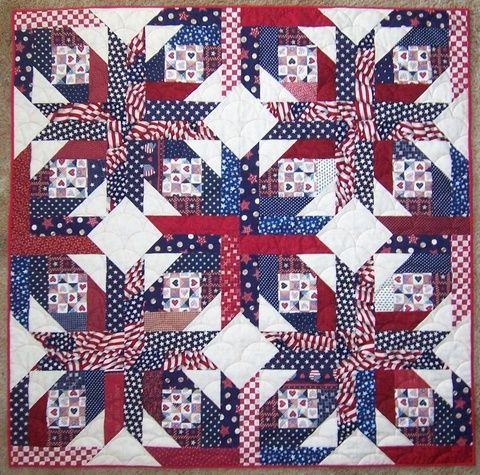 pineapple blossom quilt in black and red | pineapple blossom patriotic