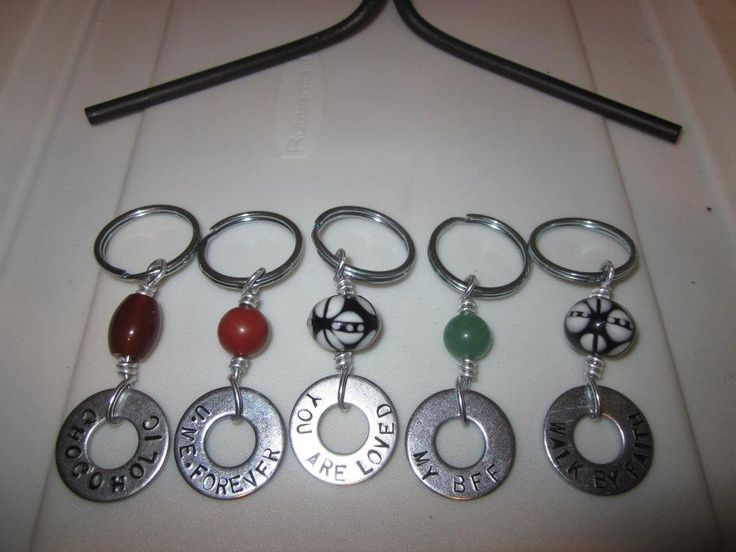 299 Washer engraved key chain embellished with different beads: byCapezza Designs Jewelry.