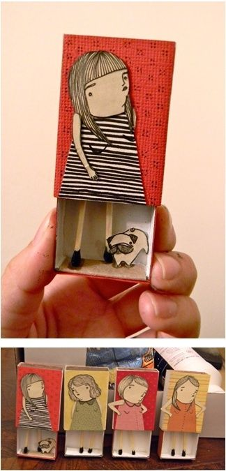 Matchbox People from Mai Ly on tumblr good inspiration for a DIY! I'm going to startcollectingold matchboxes…