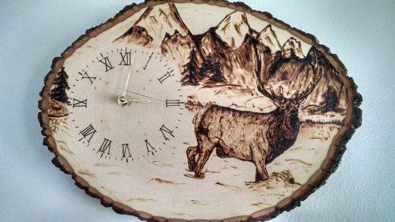 Colorado Elk Clock Wood Burning
