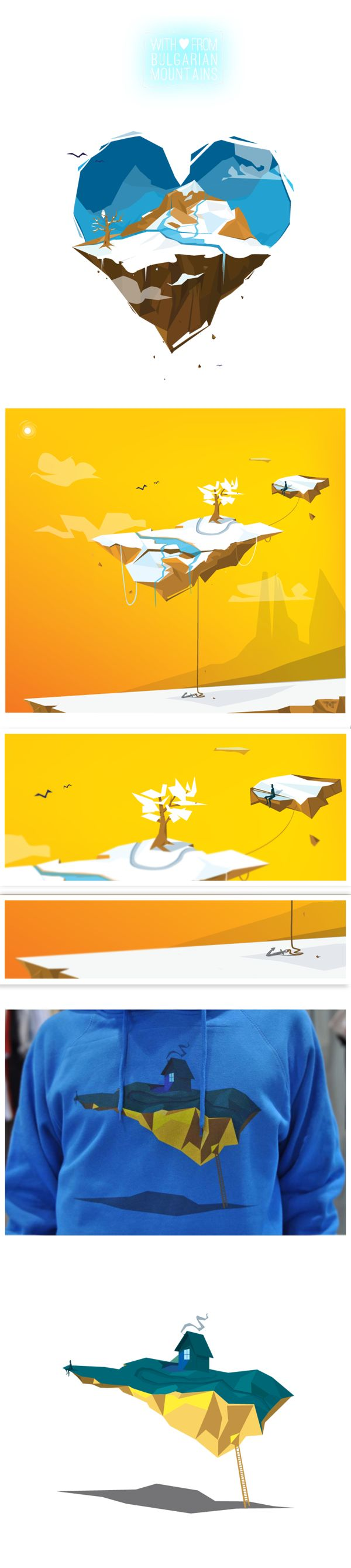 Illustration for mountains by JRMN , via Behance ван момент флат лоуполи