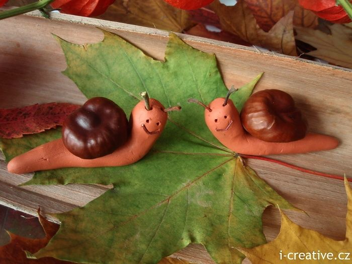 """Clay & chestnut (or conker) snails from i-creative.cz ("""",)"""