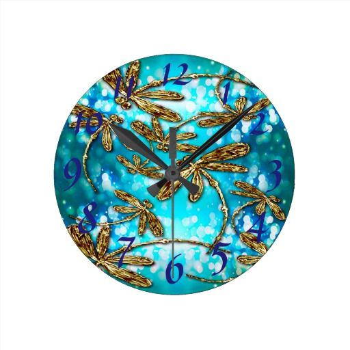 Dragonfly Flit Bubbles Wallclock....cute and customisable!