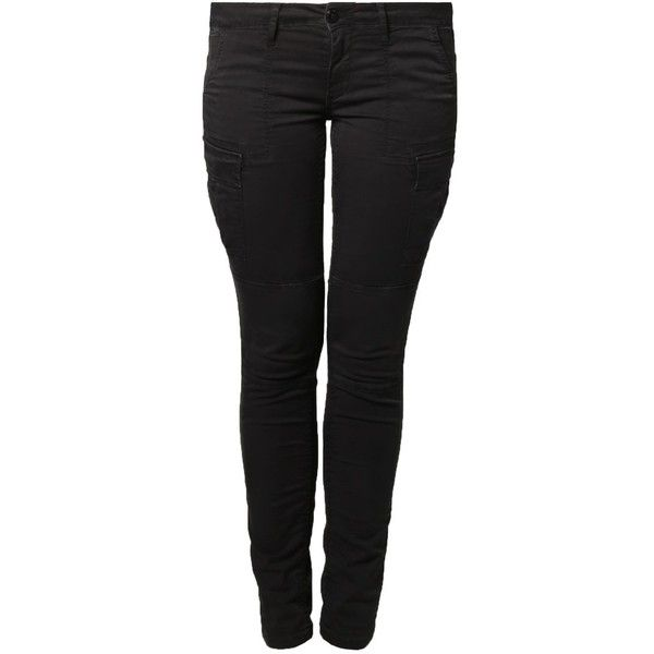 Le Temps Des Cerises Cargo trousers anthracite ($75) ❤ liked on Polyvore featuring pants, dark gray, patterned trousers, pocket pants, slim fitted pants, slim cargo pants and low pants