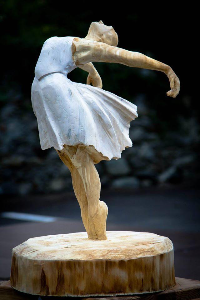 Dancer linden wood, 0.6m high x 0.4m wide, acrylic paint