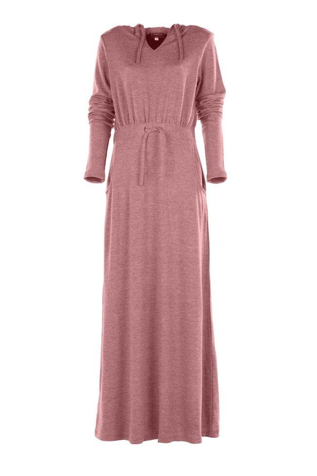 Dusky Pink Mélange Jersey Hoody Dress