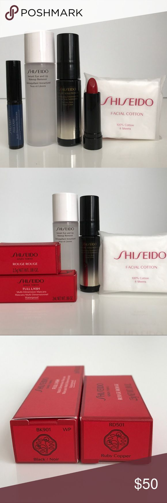 Shiseido Beautiful Future Eyes + Lips Travel size friendly. Great for a long weekend or purse essential items. Includes the following •Future Solution LX Replenishing Treatment Oil 15ml •Full Lash Multi-Dimension Mascara Waterproof BK091 Black 2ml •Instant Eye and Lip Makeup Remover 30ml •Facial Cotton 4 sheets •Retail value $66. Never used. Includes a Shiseido make up bag. Sephora Makeup