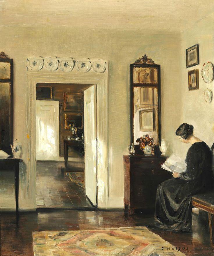 Интерьер с читающей женщиной_50 х 42_х.,м._Частное собрание Карл Вильхельм Холсё (Carl Vilhelm Holsøe), 1863-1935. Дания