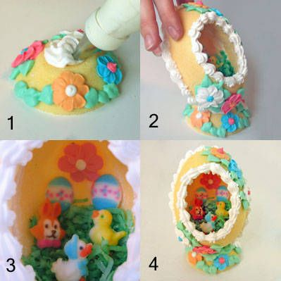 Sugar easter eggs with scenes inside.  I used to get these for easter as a child and was so enthralled with the scene inside.