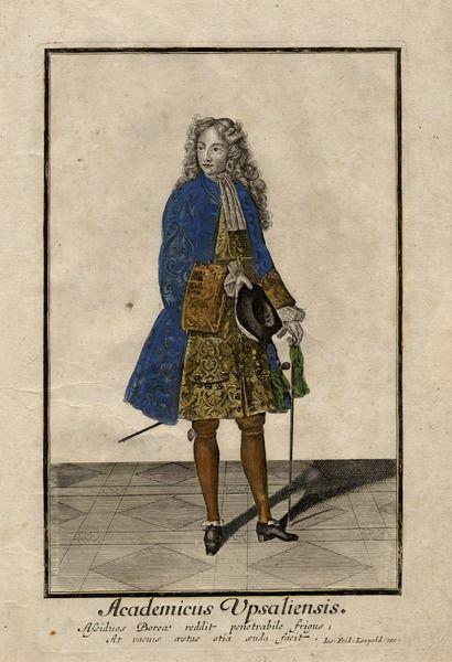 Academicus Upsaliensis, engraving by Joseph Friedrich Leopold, ca. 1700, [UPPSALA UNIVERSITY LIBRARY, BILD:3050]