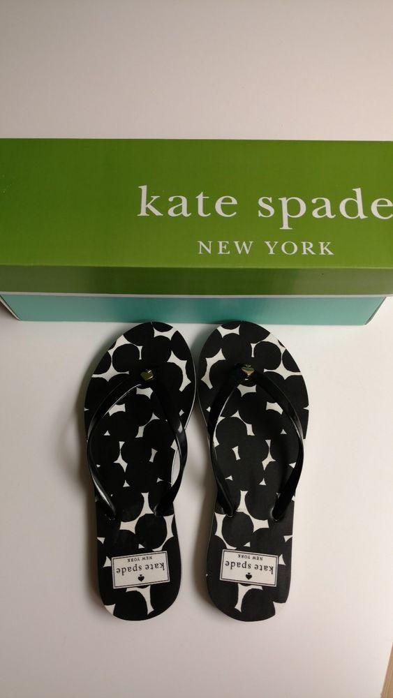 f3a389513dd Kate Spade NIB Black Splodge Dot Nassau Flip Flops  fashion  clothing   shoes