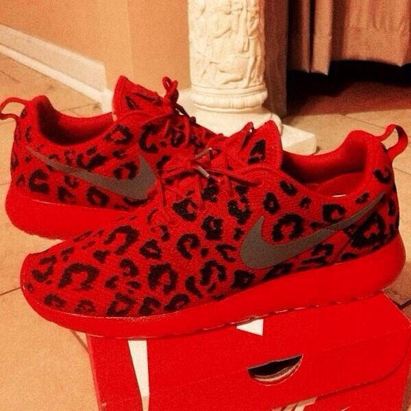 cheetah and red nike sneakers