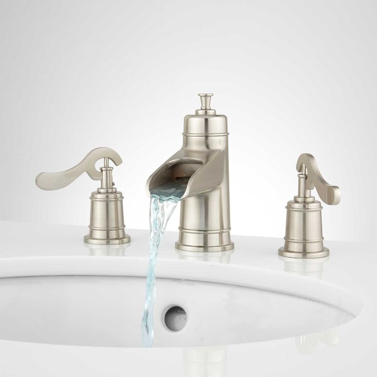 Melton Widespread Waterfall Bathroom Faucet - No Overflow - Brushed Nickel
