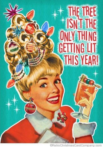 Funny Christmas Party Invitations, Getting Lit - This retro Christmas Party Invitation shows a happy woman with her hair done to look like a Christmas tree