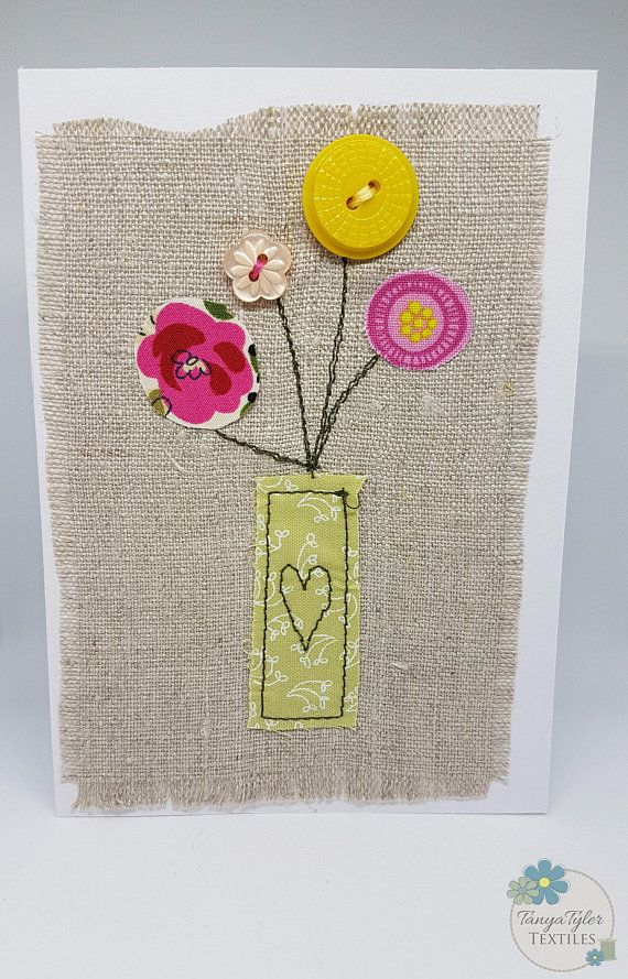 Description: Original handmade textile art card. Card with a modern floral applique. Can be used as a lovely birthday card, Mothers Day card or any other occasion. The floral applique is stitched to the linen fabric and the fabric placed on a white card. The applique is