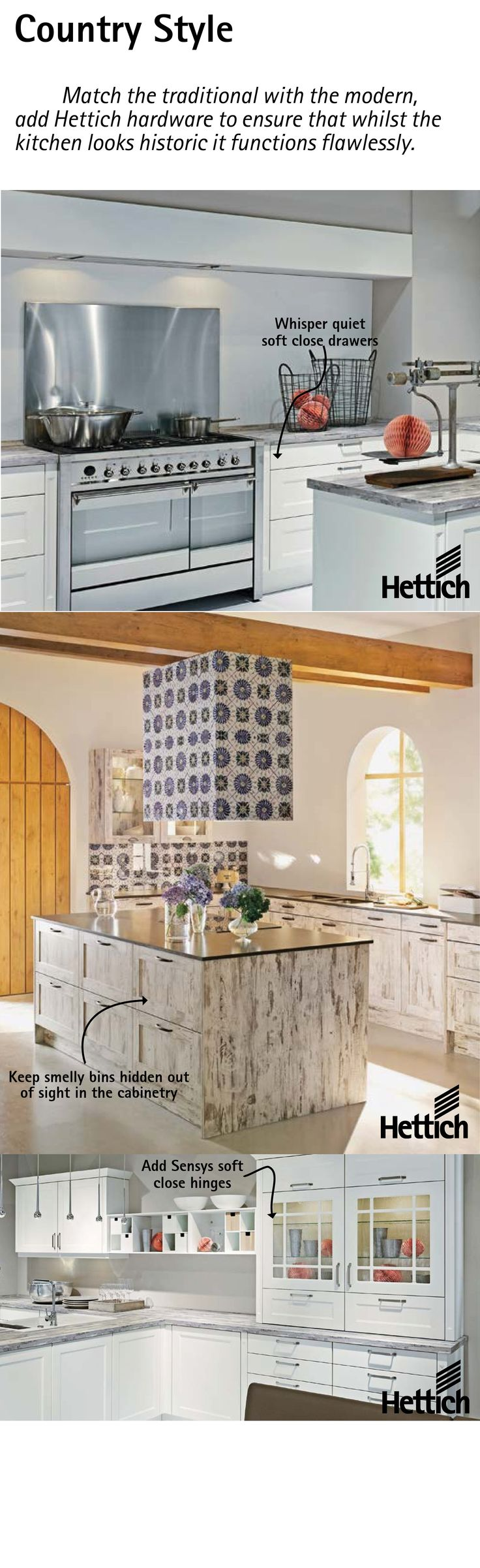 Match the traditional with the modern, add Hettich hardware to ensure that whilst the kitchen looks historic it functions flawlessly. Click the pin for more inspiration. #countrykitchen #classickitchen