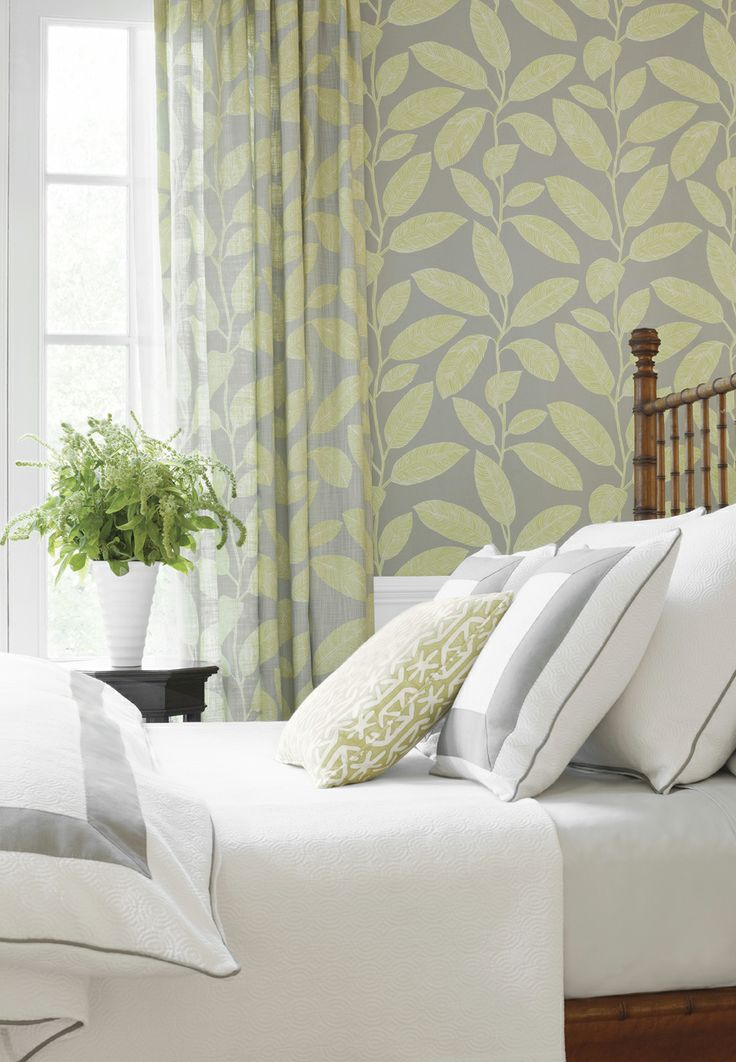 Komodo Leaves fabric and wallpaper from Biscayne Thibaut