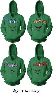 TMNT Teenage Mutant Ninja Turtles Face Green Adult Hoodie Sweatshirt