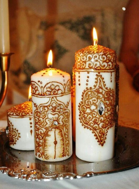 Henna candles DIY for centerpieces: