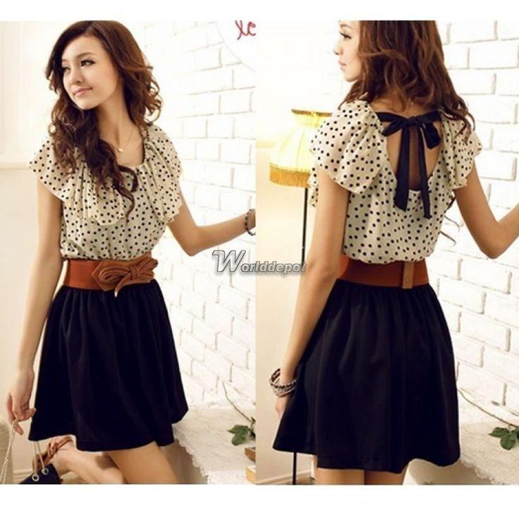 Korean Women Summer New Fashion Short-sleeve Dots Polka Waist Dress Chiffon WT90
