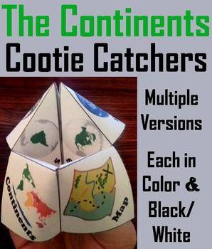 These cootie catchers/ fortune tellers are a great way for students to have fun while learning about each of the continents. How to Play and Assembly Instructions are included.These Cootie Catchers contain the following:1.