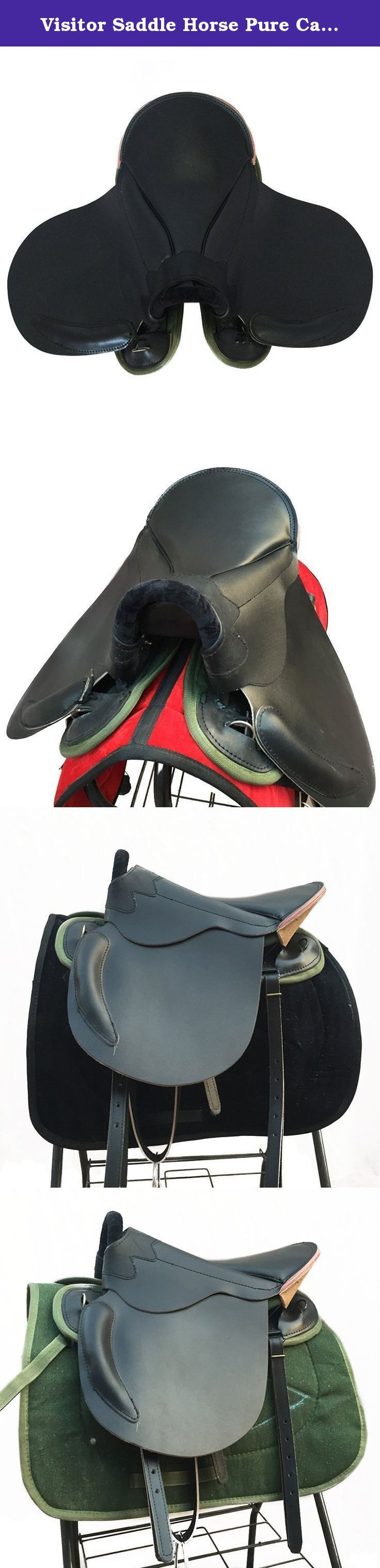 Visitor Saddle Horse Pure Cattle Leather Equestrian Supplies big. Features: High cost performance Manual made of cattle leather Improved from old army saddle Comfortable riding Keep away from wet environment and blazing sun Specifications: Color:black Size:big 46cm,small 38cm Suitable to:small horses of normal stature with 1-1.2m shoulder big horses of normal stature with over 1.2m shoulder Weight:small 7kg,big 8kg .
