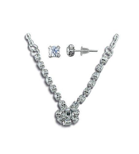 New Fashion White CZ Diamond Flower Necklace Stud Earring Set VistaBella. $5.99. Save 80% Off!