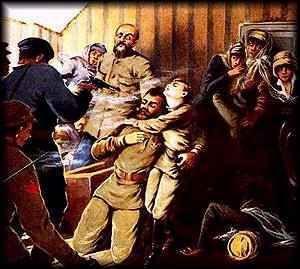 De familie Romanov is op 17 juli 1918 vermoord door de Bolsjewieken. Ze namen als excuus om een foto te maken. Daarom ging de familie naar de kelder van het Ipatiev-huis en werden daar dood geschoten. Bij poging 1 overleefde er een paar dames door de juwelen in hun jurk. Ze schoten nog een keer. Degene die toen nog niet dood waren werden dood gestoken.