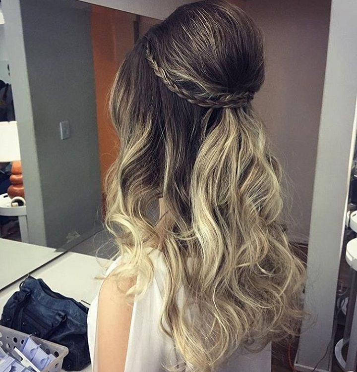 Braid crown + Half up half down hairstyle #weddinghair #hairstyle #promhair #bridalhair #halfuphalfdown #hairdown #bridehairideas
