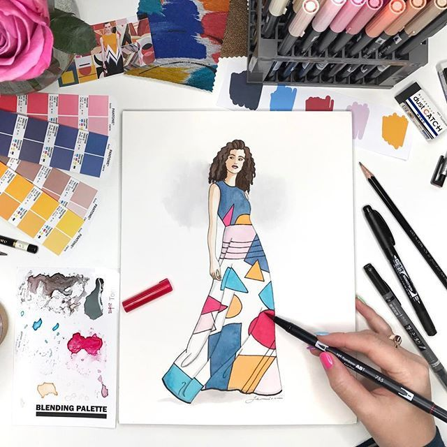 Pin By Tombow Usa Arts Crafts Pro On Moldes Pinterest Fashion Illustration Illustration Tombow