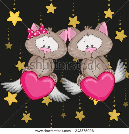 Valentine card with Lovers Cats