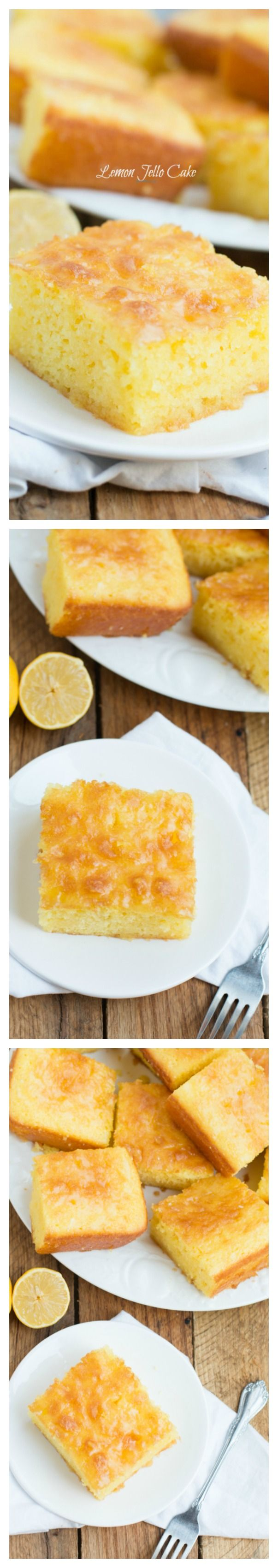 This Lemon Jello cake is one that I have made for many years.  It's one of my favorite cakes.  I take a fork and poke holes into the warm cake after it comes out of the oven and then put the glaze on top of it.  This allows it to go down into the cake.