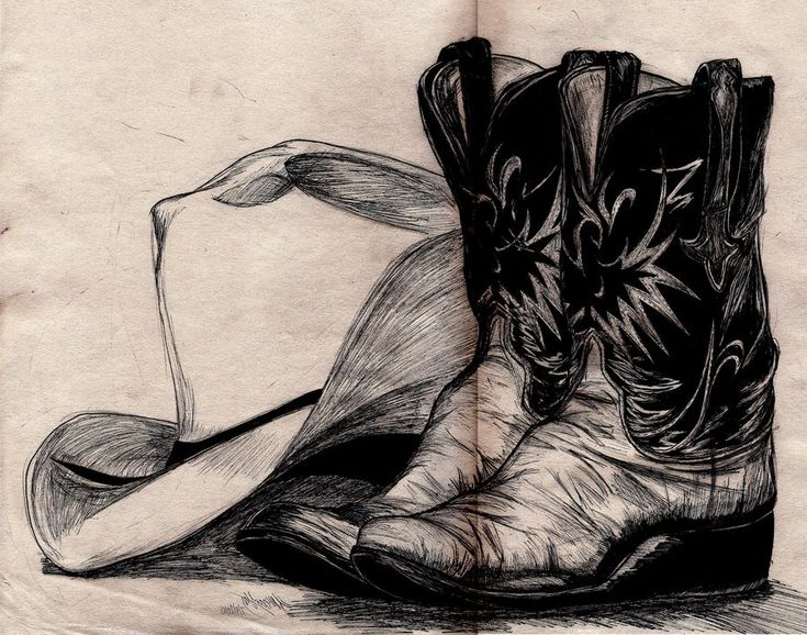 drawings of cowboy boots | Cowboy hat and boots by ~PocketDreams on deviantART