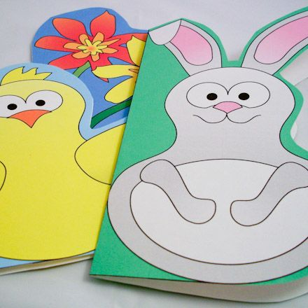 Easy enough for little kids to make! Fun shaped cards - chick, bunny and spring flowers