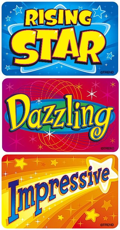 TREND's Star Achievers Applause reward stickers contain motivating messages and vibrant designs that make it easy to inspire children of all ages Acid-free, non-toxic, and safe for use on photos.